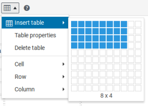 table editor option